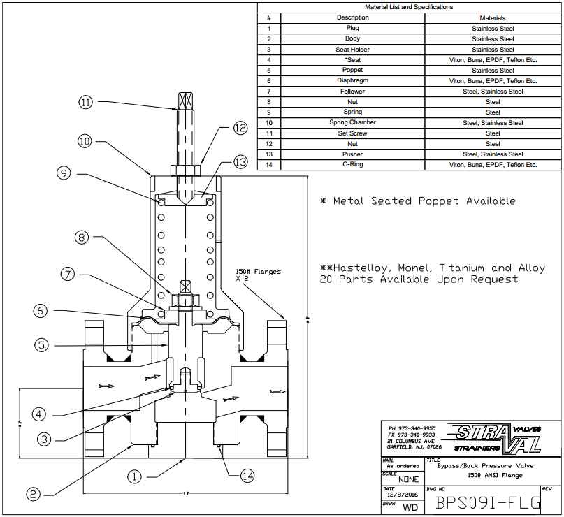 Pressure Regulator ANSI RF Flanged